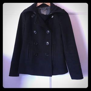 J. Crew Wool Pea Coat Black XS Petite Thinsulate
